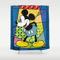 mickey Shower Curtains featuring Mickey Spotlight by Gary Grayson