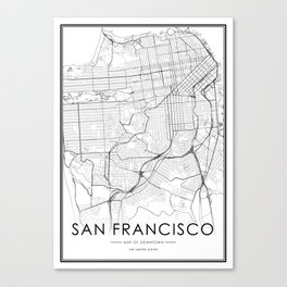 San Francisco City Map United States White and Black Canvas Print