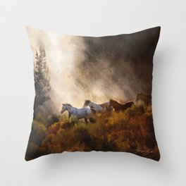 Horses in a Golden Meadow by Georgia M Baker Throw Pillow