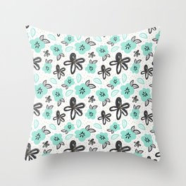 Mint and black flowers Throw Pillow
