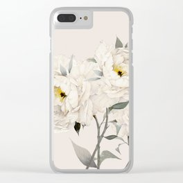 White Peonies Clear iPhone Case