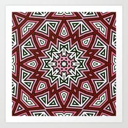 Geometric Red+Pink Star Art Print