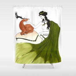 The Lady Artemis, The Goddess of the Hunt Shower Curtain
