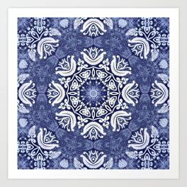 Blue snow pattern Art Print