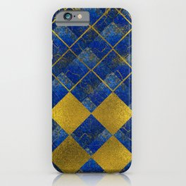 Lapis Lazuli and gold pattern iPhone Case