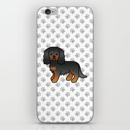 Cute Black And Tan Cavalier King Charles Spaniel Dog Cartoon Illustration iPhone Skin