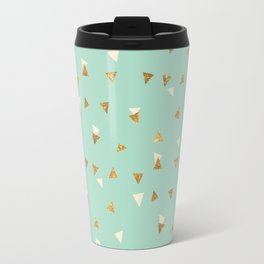 Pastel green ivory faux gold glitter abstract triangles Travel Mug