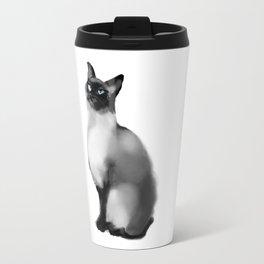watercolor blue eyes cat Travel Mug