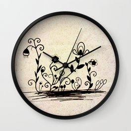 Flowers on old paper Wall Clock
