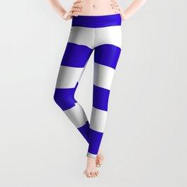Interdimensional blue -  solid color - white stripes pattern Leggings