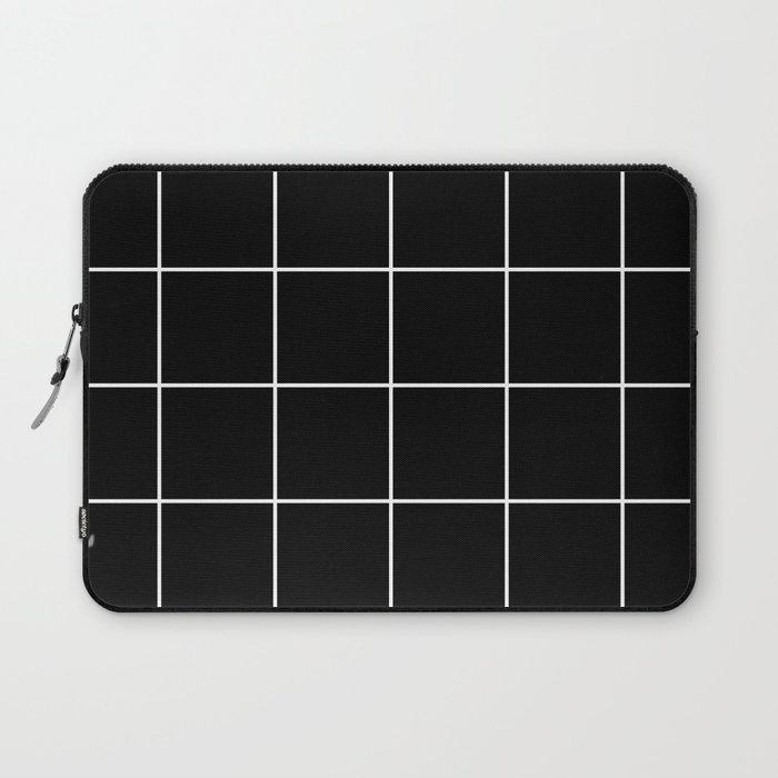white grid on black background - Laptop Sleeve