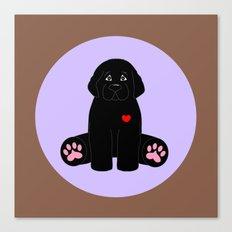 Stuffed Black Dog Canvas Print