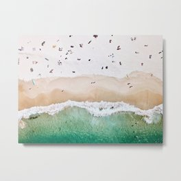 A aerial shot of a sandy beach and crystal clear water Metal Print