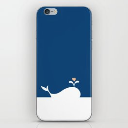 Whale in Blue Ocean with a Love Heart iPhone Skin