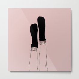 Cozy socks scribbled Metal Print