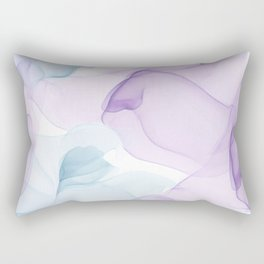 Purple Blush and Blue Flowing Abstract Painting Rectangular Pillow
