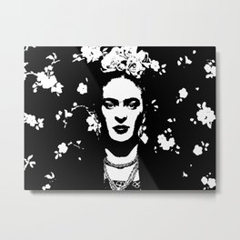 Black 'n white Frida Metal Print