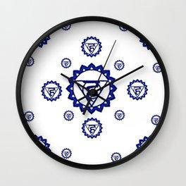 "BLUE SANSKRIT CHAKRAS PSYCHIC WHEEL "" SPEAK"" Wall Clock"