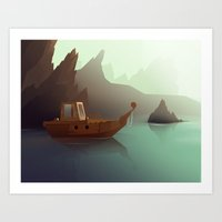 ship Art Prints featuring ship by Alevan