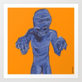 Monster between the wall and the filing cabinet Art Print