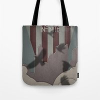 bioshock infinite Tote Bags featuring Bioshock Infinite - One Nation Over God by s2lart