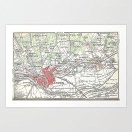 Vintage Map of Arnhem and Surrounding Areas (1905) Art Print