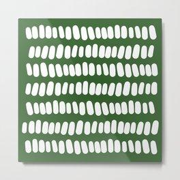 White Tabs on Green Metal Print