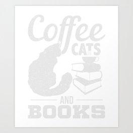 Kaffee Katzen Buch Geschenk Art Print