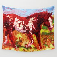 mustang Wall Tapestries featuring Overo by Fallen Apple Designs