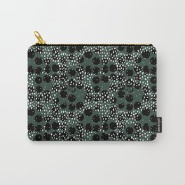 Minimal spots abstract dots and ink speckles snow and rain winter forest green Carry-All Pouch