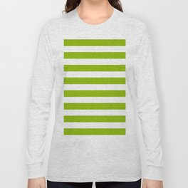 Spring Fresh Apple Green & White Stripes- Mix & Match with Simplicity of Life Long Sleeve T-shirt