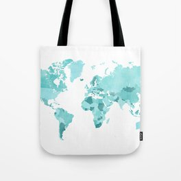 Distressed world map in aquamarine and teal Tote Bag