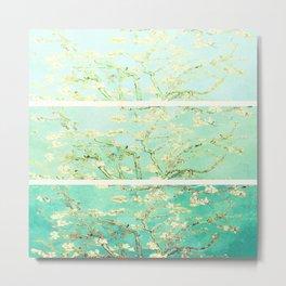 Vincent Van Gogh Almond Blossoms Panel art Aqua Green Metal Print