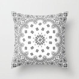 Bandana - White - Paisley - Southwestern Throw Pillow