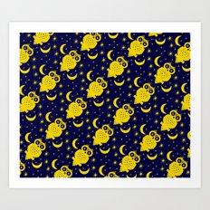 Owl Moon Starry Nights Art Print