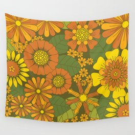 Orange, Brown, Yellow and Green Retro Daisy Pattern Wall Tapestry
