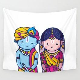 Cute Radha Krishna Wall Tapestry