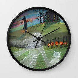 Ghost Friends Halloween Fantasy Art by Molly Harrison Wall Clock