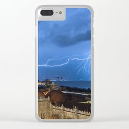 Storm lightning in the Strait of Messina Clear iPhone Case