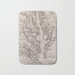Vintage Map of The Chesapeake Bay (1681) Bath Mat