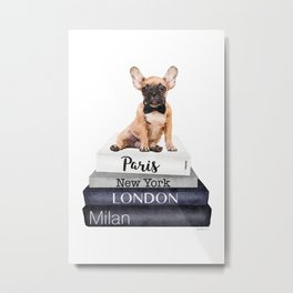 Frenchie, French bulldog, Fawn, Books, City's, Cities, travel, Fashion illustration,Amanda Greenwood Metal Print