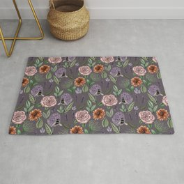 Plum Field Of Flowers Watercolour Pattern Rug