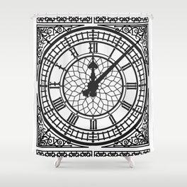 Big Ben, Clock Face, Intricate Vintage Timepiece Watch Shower Curtain