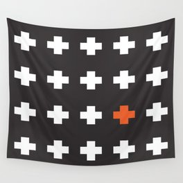 Plus Sign Red Contrast Wall Tapestry