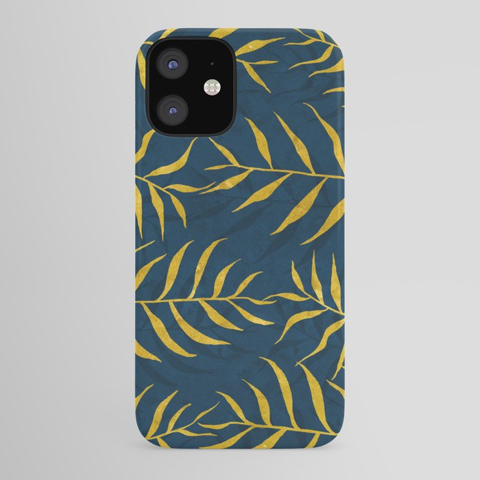 Golden Palm tree blue iPhone Case