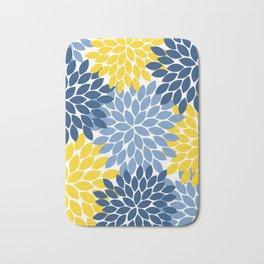 Blue Yellow Flower Burst Floral Pattern Bath Mat