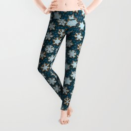 Frosted Gingerbread on Winter Night Sky Leggings