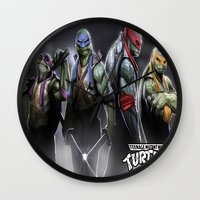ninja turtles Wall Clocks featuring ninja turtles  , ninja turtles  games, ninja turtles  blanket, ninja turtles  duvet cover by ira gora