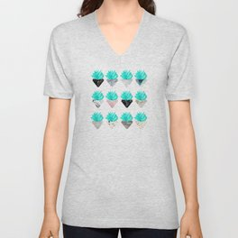 Assorted Succulents Unisex V-Neck