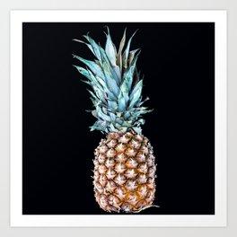 Pineapple On A Black Background #decor #society6 Art Print